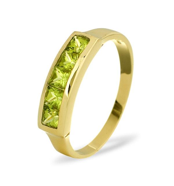 Peridot 3mm 9K Yellow Gold Ring - image 1