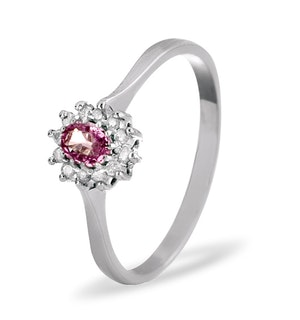 9K White Gold Diamond Pink Sapphire Ring 0.06ct A4301