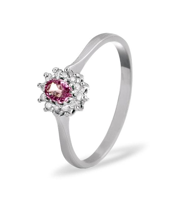 9K White Gold Diamond Pink Sapphire Ring 0.06ct A4301 - image 1