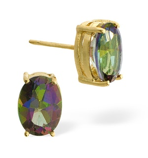 Mystic Topaz 7x5mm 9K Yellow Gold Earrings