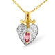 Diamond and Oval Pink Sapphire 9K Gold Pendant - image 1
