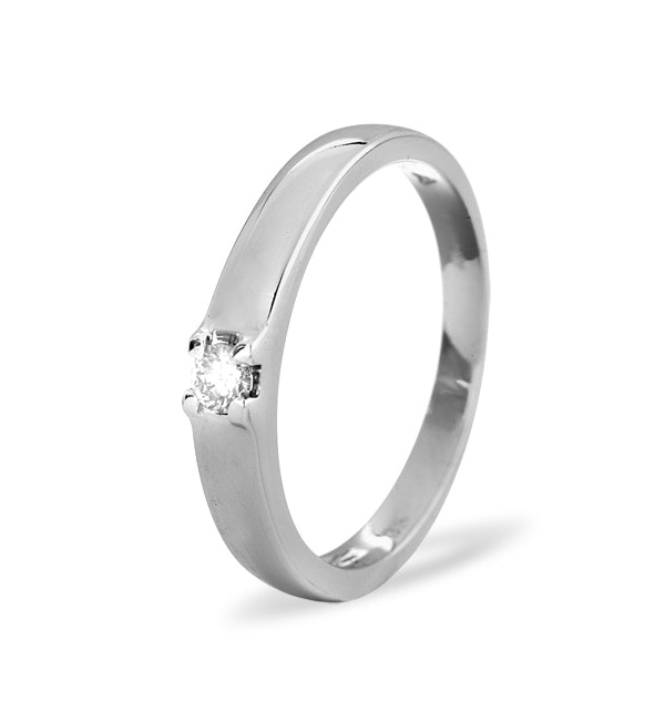 Solitaire Ring 0.11CT Diamond 9K White Gold - image 1