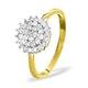 9K Gold Diamond Cluster Ring 0.50ct - E5607 - image 1