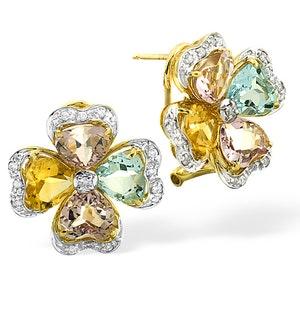9K Gold Diamond and Multi Gem Earrings
