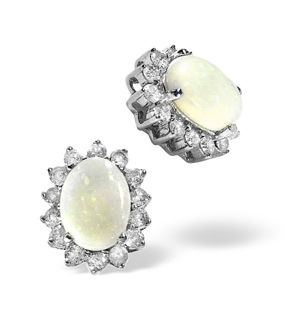 Opal 7 x 5mm And Diamond 9K White Gold Earrings - image 1