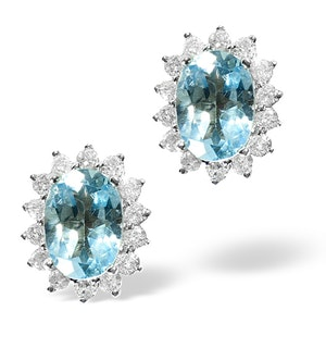 Blue Topaz 7 x 5mm And Diamond 9K Gold Earrings