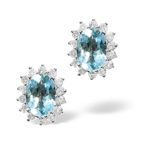 Blue Topaz 1.90CT And Diamond 9K White Gold Earrings - image 1