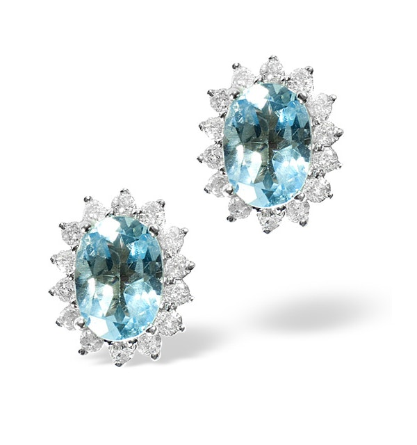 Blue Topaz 1.90CT And Diamond 9K White Gold Earrings - image 1