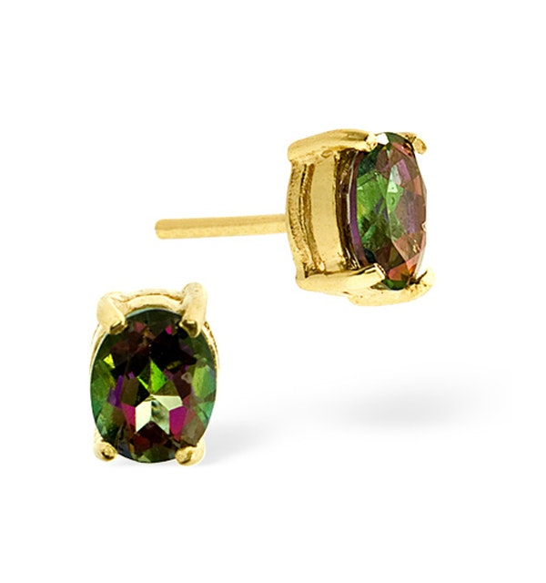 Mystic Topaz 0.80CT 9K Yellow Gold Earrings - image 1