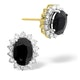 Sapphire 7mm x 5mm And Diamond 9K Yellow Gold Earrings - image 1