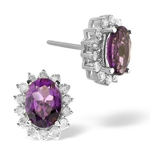 Amethyst 7 x 5mm And Diamond 9K White Gold Earrings