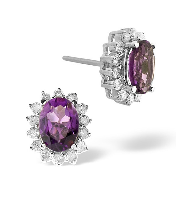 Amethyst 7 x 5mm And Diamond 9K White Gold Earrings - image 1