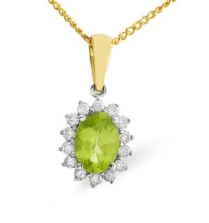 Peridot 7 x 5mm And Diamond 9K Gold Pendant Necklace