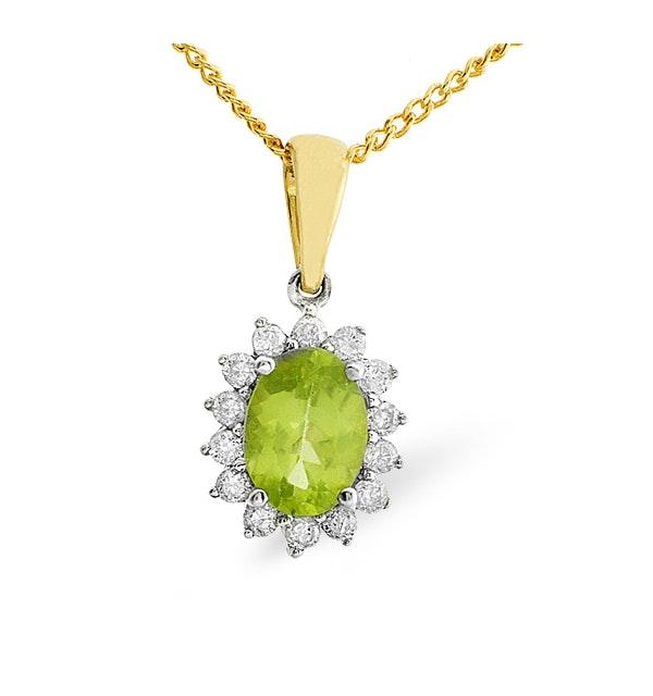 Peridot 7 x 5mm And Diamond 9K Gold Pendant Necklace - image 1