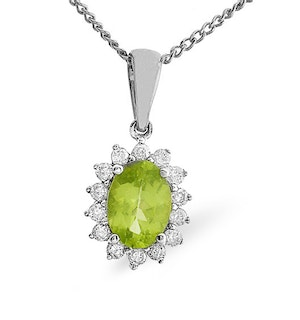 Peridot 7 x 5mm And Diamond 9K White Gold Pendant