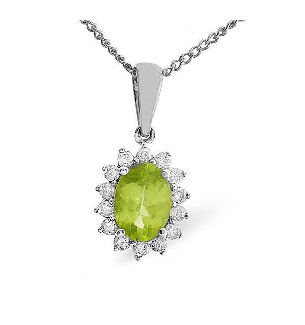 Peridot 7 x 5mm And Diamond 9K White Gold Pendant Necklace - image 1