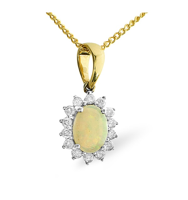 Opal 7 x 5mm And Diamond 9K Gold Pendant - image 1