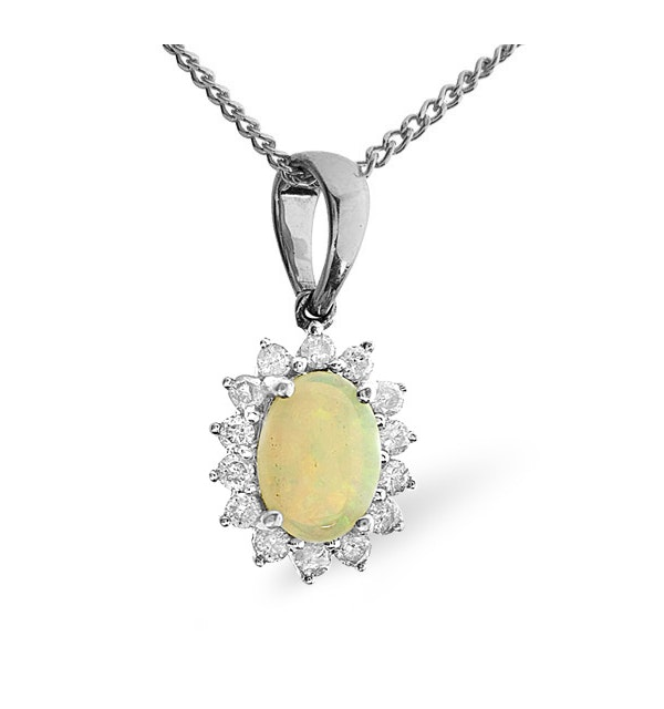 Opal 7 x 5mm And Diamond 9K White Gold Pendant Necklace - image 1