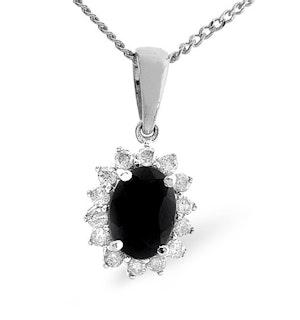 Sapphire 7 x 5mm And Diamond 9K White Gold Pendant