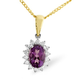 Amethyst 7 x 5mm And Diamond 9K Gold Pendant
