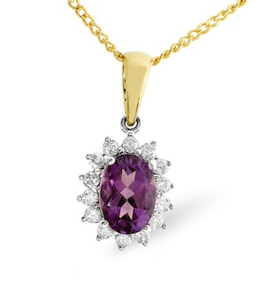 Amethyst 7 x 5mm And Diamond 9K Gold Pendant Necklace