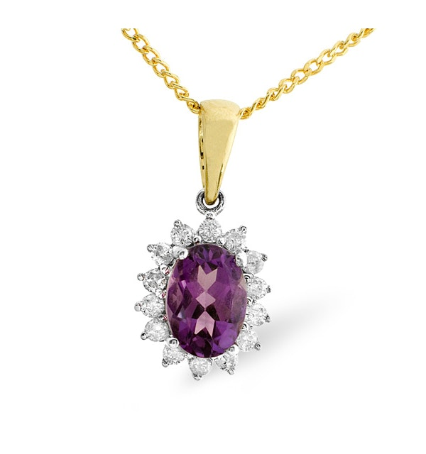 Amethyst 7 x 5mm And Diamond 9K Gold Pendant - image 1