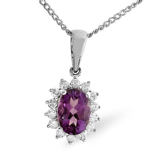 Amethyst 7 x 5mm And Diamond 9K White Gold Pendant Necklace
