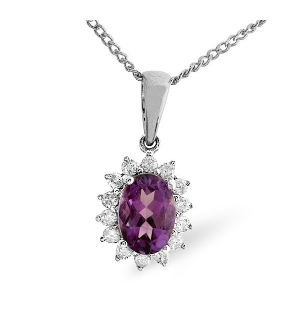 Amethyst 7 x 5mm And Diamond 9K White Gold Pendant Necklace - image 1