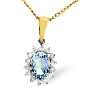 Blue Topaz 7 x 5mm And Diamond 9K Gold Pendant Necklace