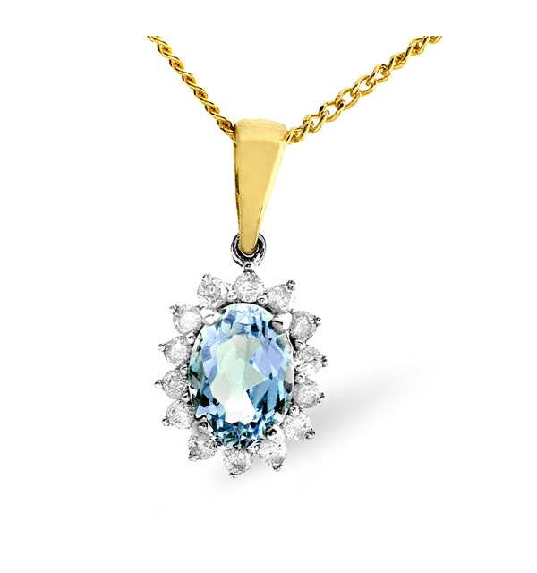 Blue Topaz 7 x 5mm And Diamond 9K Gold Pendant - image 1