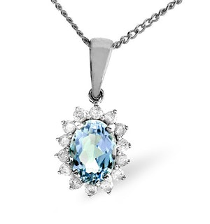 Blue Topaz 7 x 5mm And Diamond 9K White Gold Pendant Necklace