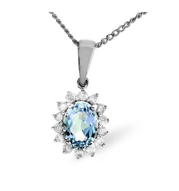 Blue Topaz 7 x 5mm And Diamond 9K White Gold Pendant Necklace - image 1