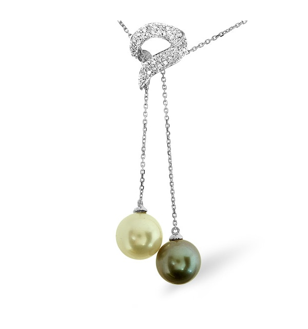 9K White Gold Diamonds and Pearls Necklace 0.21CT - image 1