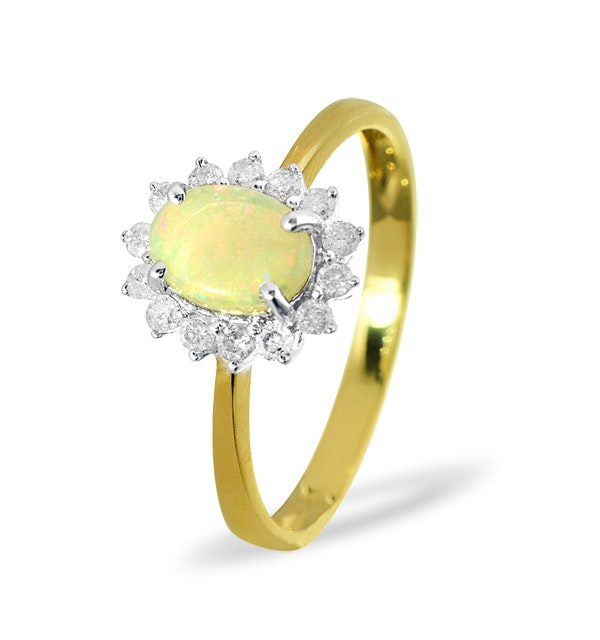 Opal 7 x 5mm And Diamond 9K Yellow Gold Ring - image 1