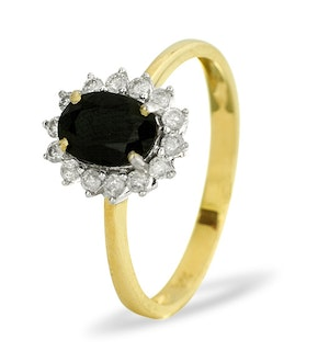 Sapphire 0.90ct And Diamond 9K Gold Ring