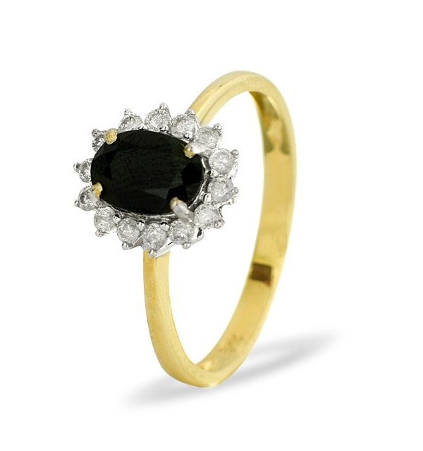 Sapphire 0.90ct And Diamond 9K Gold Ring - image 1