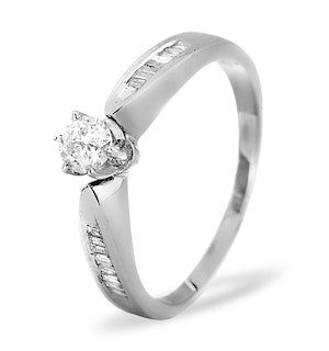 Sidestone Engagement Ring with 0.40ct of Diamonds set in 9K White Gold