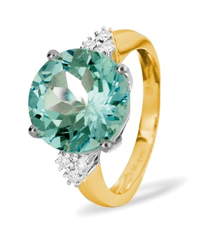 9K Gold Blue Topaz Ring with Shoulder Diamonds