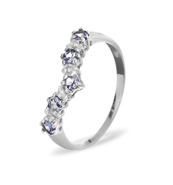 Diamond and Tanzanite 0.35CT Wishbone Ring in 9K White Gold - image 1