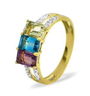 0.10Ct Diamond and Multi Gem Ring Set in 9K Gold