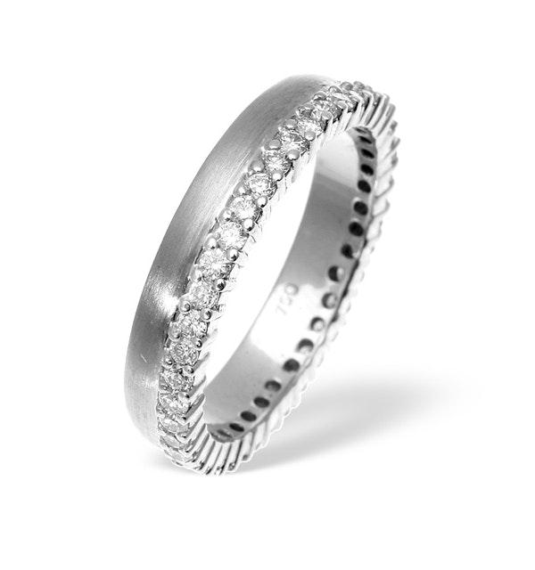 Emily High Set 18K White Gold Diamond Wedding Ring 1.20CT H/SI - image 1
