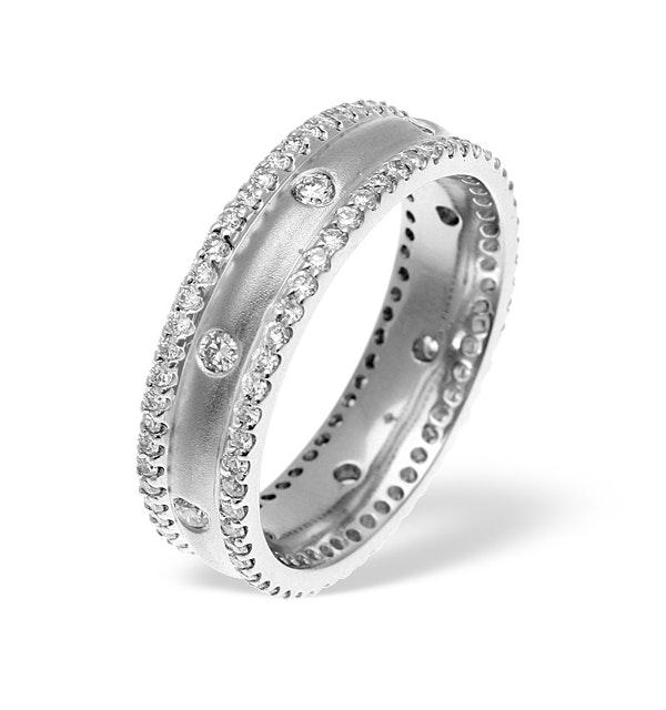 Mens 1.3ct G/Vs Diamond 18K White Gold Dress Ring - image 1