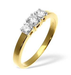 Ellie 18K Gold 3 Stone Diamond Ring 1.50CT G/VS