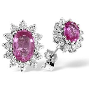 Pink Sapphire 6 X 4mm and Diamond 9K White Gold Earrings B3672