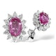 Pink Sapphire 6 X 4mm and Diamond 9K White Gold Earrings B3672 - image 1