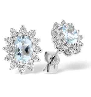 Aquamarine 6 x 4mm And Diamond 9K White Gold Earrings