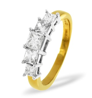 Lucy 18K Gold 5 Stone Princess Diamond Eternity Ring 0.50CT H/SI