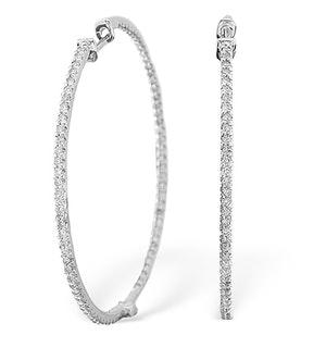 1 Carat Diamond Hoop Earrings in 9K White Gold - 39mm