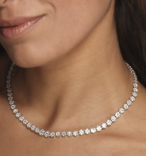 Lab Diamond Cluster Necklace 6CT G/VS set in 18K White Gold