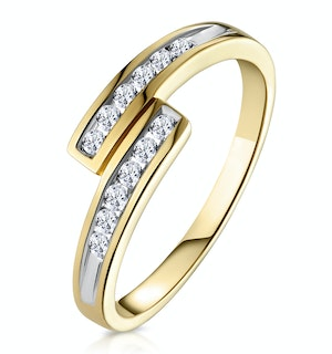 Diamond 0.20CT 9K Yellow Gold Cross-Over Ring